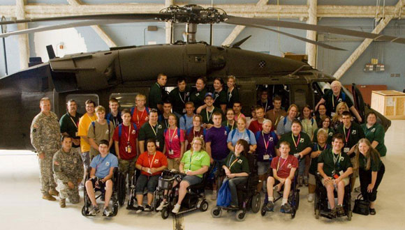 Iowa delegates at the Iowa National Guard helicopter base in 2012